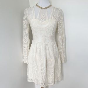 ALTAR'D STATE Floral Lace Bell Sleeves Dress XS